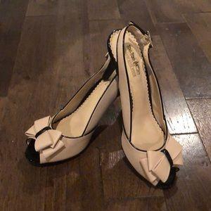 Blush and Black Coach Peep Toe Heels